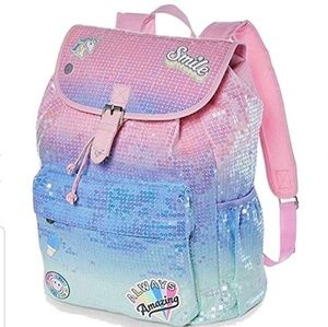 Justice Get Happy Ombre Sequin Rusksack Backpack